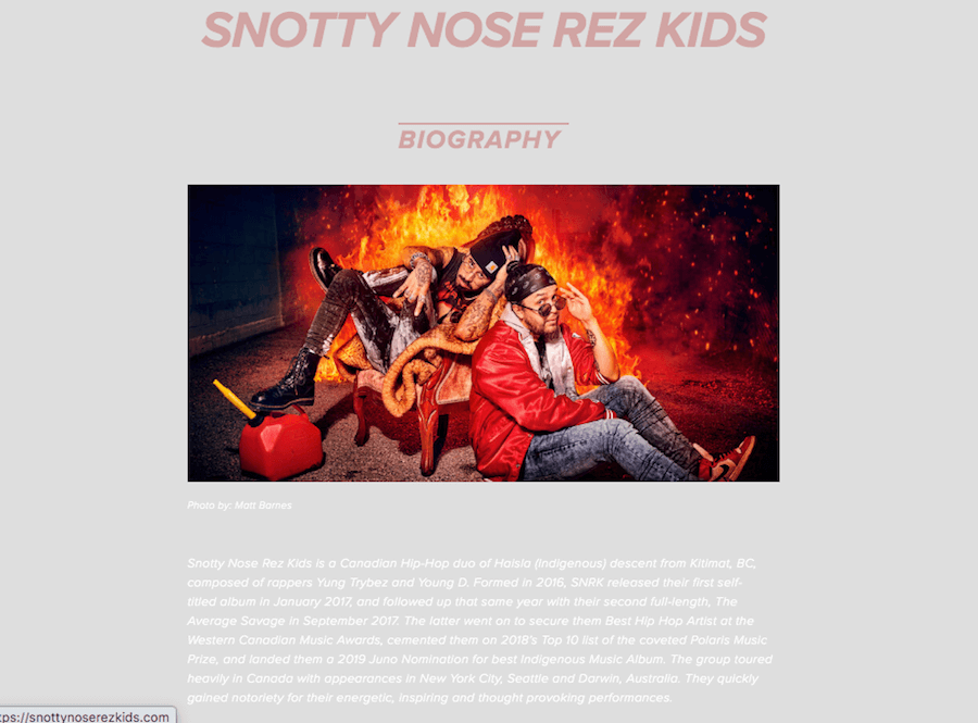 Examples of Band Bios – Snotty Nose Rez Kids