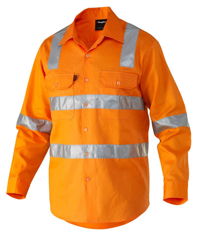 King Gee  Long Sleeve Safety Drill Shirt - 100% Cotton Drill- 190gsm (K54055)