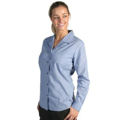 DNC Ladies Revere Collar Mini L/S Houndstooth Business Shirt (4256)