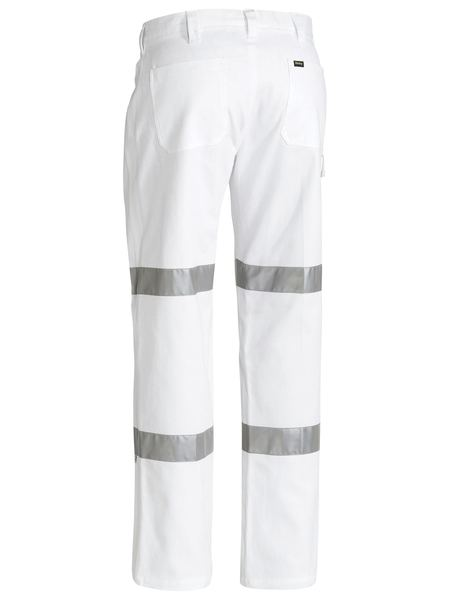 Bisley 3m Taped Cotton Drill White Work Pant-(BP6808T )