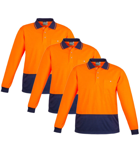 Syzmik Unisex Day Only Basic Polo - Long Sleeve -ZH232-1 (Pack of 3)