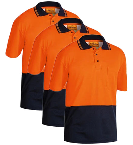 Bisley 2 Tone Hi Vis Polo Shirt - Short Sleeve BK1234-1 (Pack of 3)