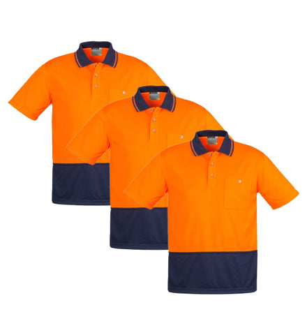 Syzmik Unisex Hi Vis Basic Spliced Polo - Short Sleeve - ZH231-1 (Pack of 3)