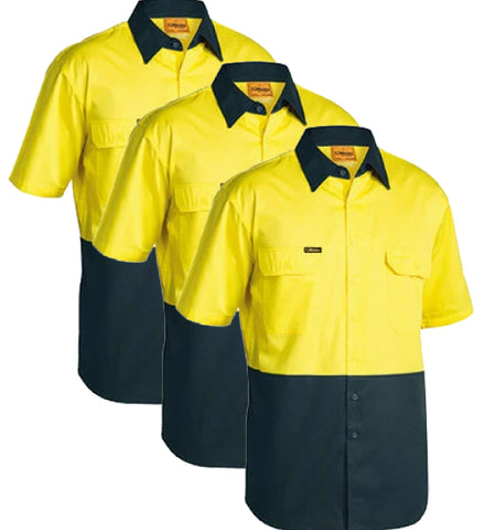 Bisley 2 Tone Cool Lightweight Drill Shirt - Short Sleeve BS1895-1 (Pack of 3)