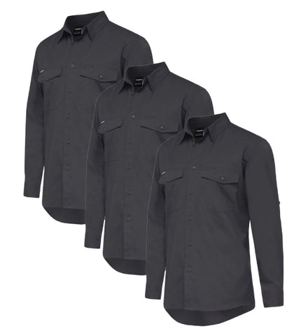 KingGee Workcool 2 Shirt L/S - Cotton Ripstop K14820-1 (Pack of 3)
