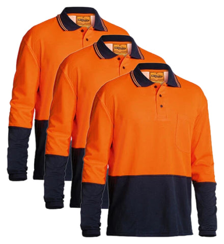 Bisley 2 Tone Hi Vis Polo Shirt - Long Sleeve BK6234-1 (Pack of 3)
