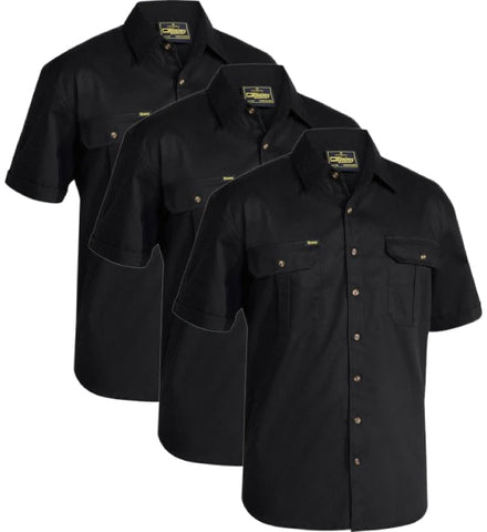 Bisley Original Cotton Drill Shirt - Short Sleeve BS1433-1 (Pack of 3)