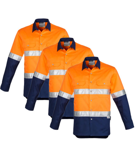 Syzmik Mens Hi Vis Spliced Industrial Shirt - Hoop Taped  ZW123-1 (Pack of 3)