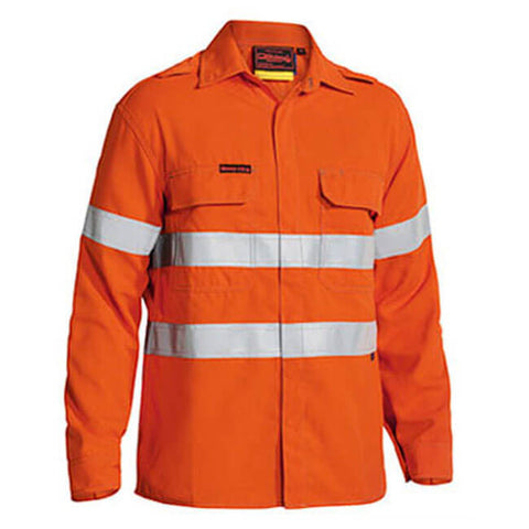 Bisley Tencate Tecasafe Plus FR Taped Hi Vis Lightweight Long Sleeve Shirt-(BS8197T)