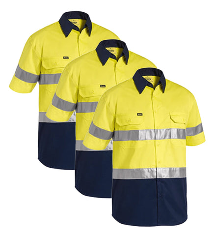 Bisley 3M Taped Two Tone Hi Vis Cool Lightweight Shirt - Short Sleeve BS1896-1 (Pack of 3)