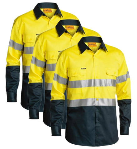 Bisley 2 Tone Hi Vis Shirt 3M Reflective Tape - Long Sleeve BT6456-1 (Pack of 3)