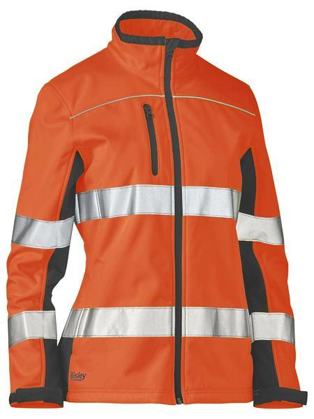 Bisley Womens Taped Two Tone Hi Vis Soft Shell Jacket (BJL6059T)
