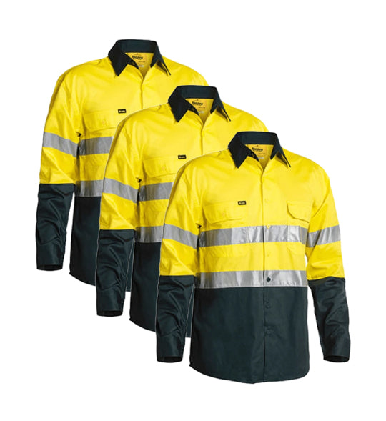 Bisley 2 Tone Hi Vis Gusset Cuff Shirt 3M Reflective Tape BS6896-1 (Pack of 3)