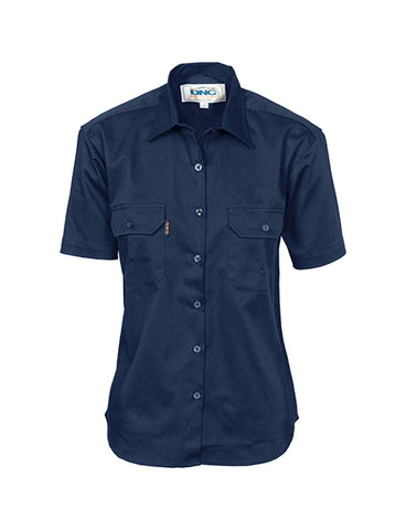 DNC Ladies Cotton Drill Work Shirt, Short Sleeve (3231)