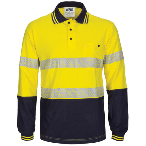 DNC Hivis Segment Tape Cotton Jersey Polo - Long Sleeve (3516)