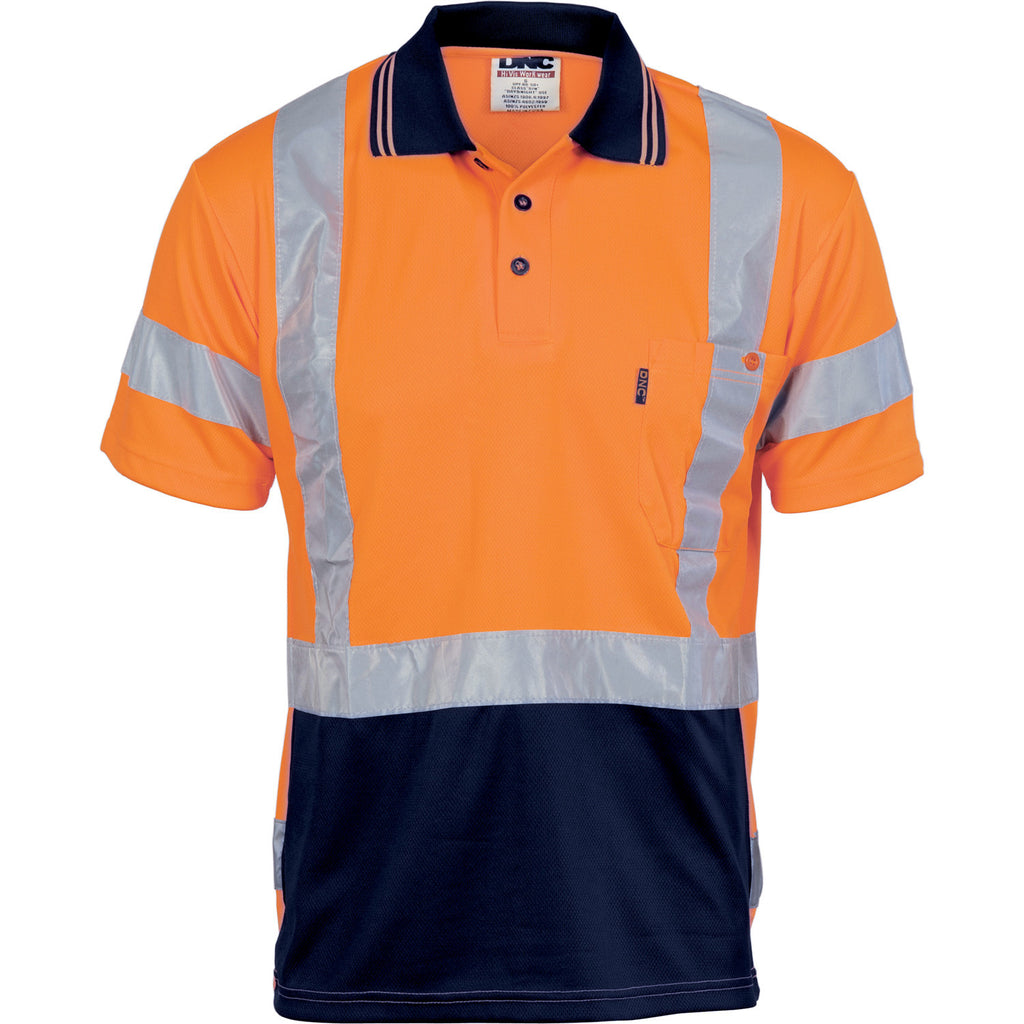 DNC HiVis D/N Cool Breathe Polo Shirt with Cross Back R/Tape - Short Sleeve (3712)