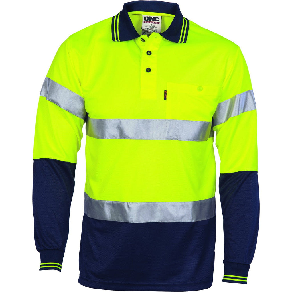 DNC HiVis D/N Cool Breathe Polo Shirt With CSR R/Tape - Long Sleeve (3716)