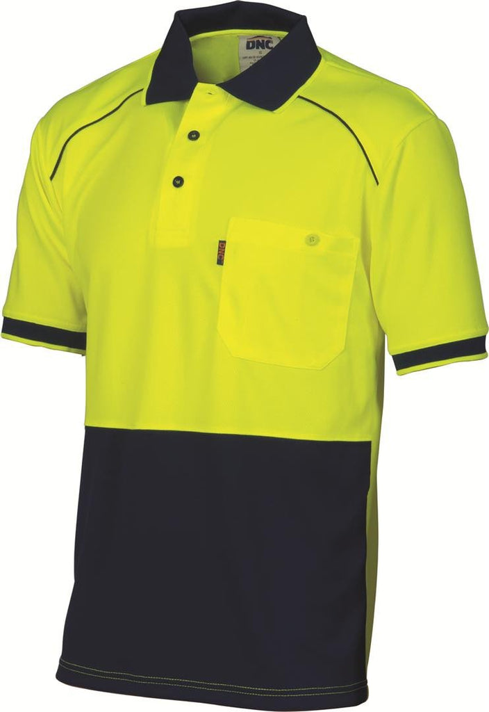 DNC HiVis Cool-Breathe Front Piping Polo - Short Sleeve (3754)