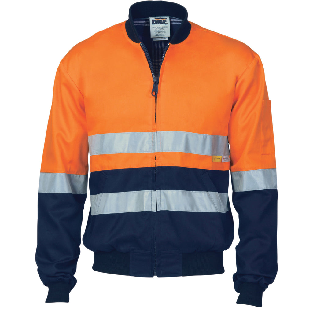DNC HiVis Two Tone D/N Cotton Bomber Jacket with CSR R/tape (3758)
