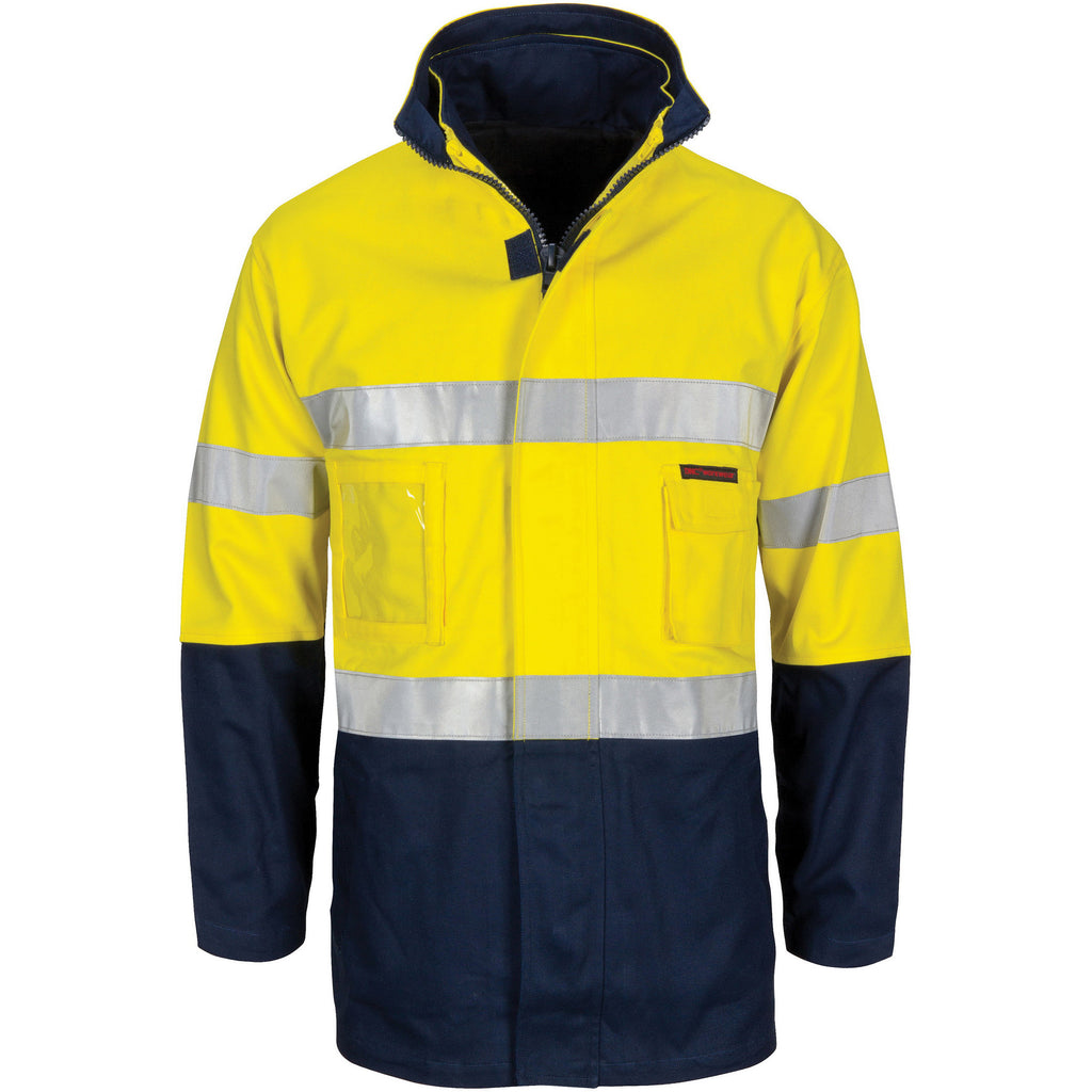 "DNC HiVis ""4 IN 1"" Cotton Drill Jacket with Generic R/Tape(3764)"