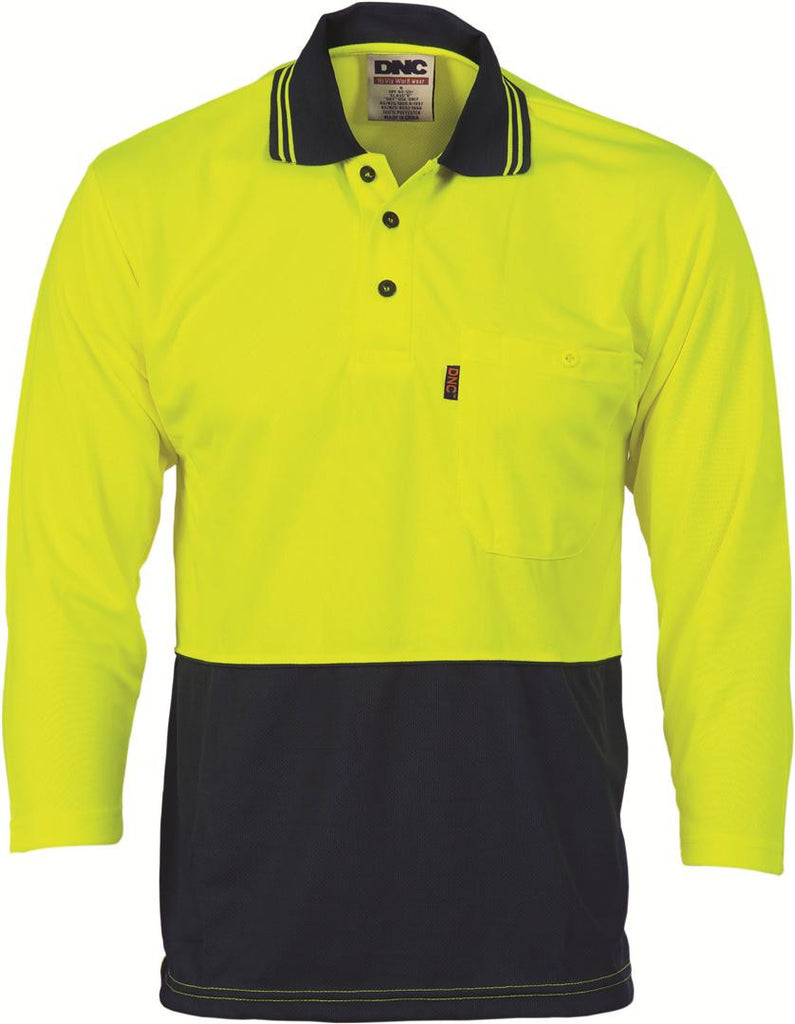 DNC Hivis Two Tone Cool Breathe Polo Shirt, 3/4 Sleeve  (3812)