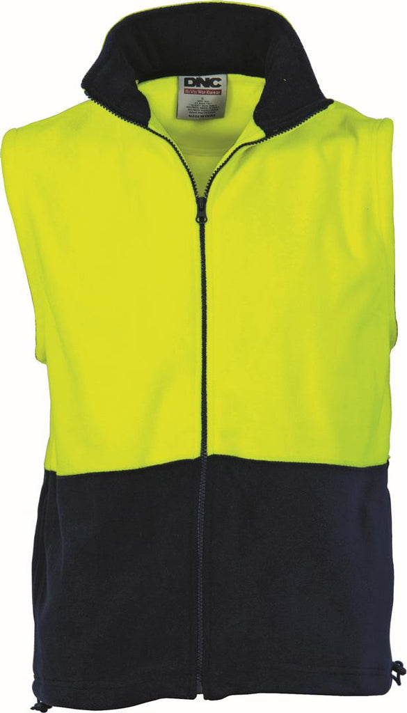 DNC HiVis Two Tone Full Zip Polar Fleece Vest (3828)
