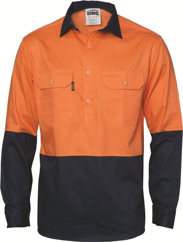 DNC HiVis Two Tone Close Front Cotton Drill Shirt - Long Sleeve, Gusset Sleeve (3834)