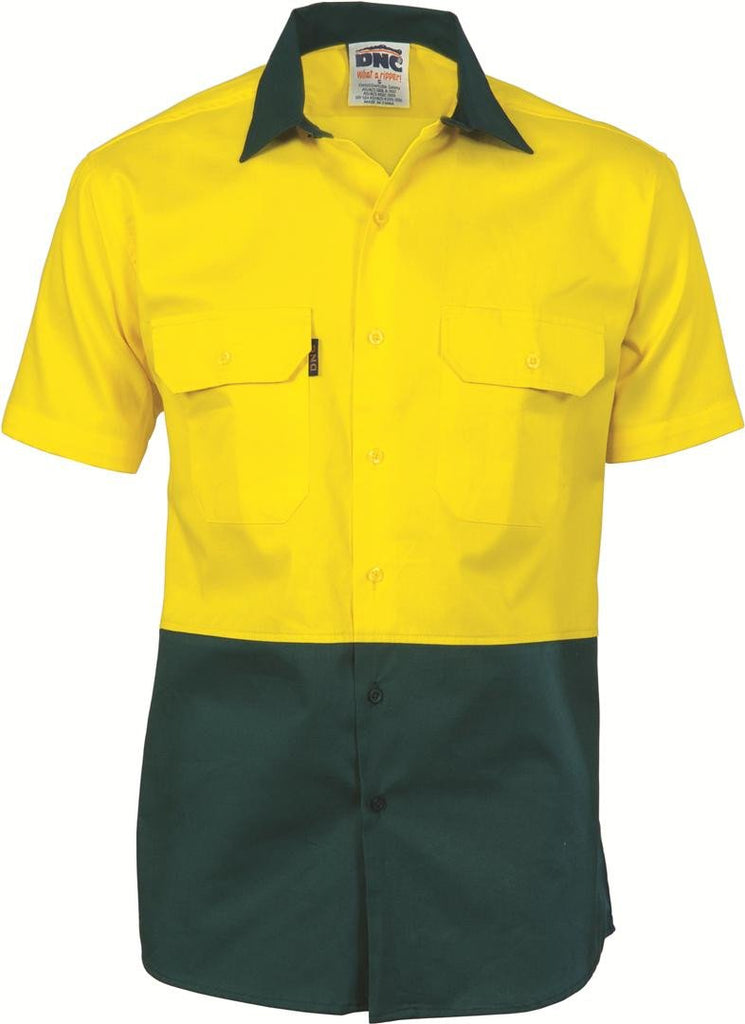 DNC HiVis Two Tone Cool-Breeze Cotton Shirt, Short Sleeve (3839)