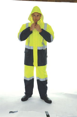 DNC HiVis Two Tone Lightweight Rain Jacket with 3M R/Tape (CL-3879)