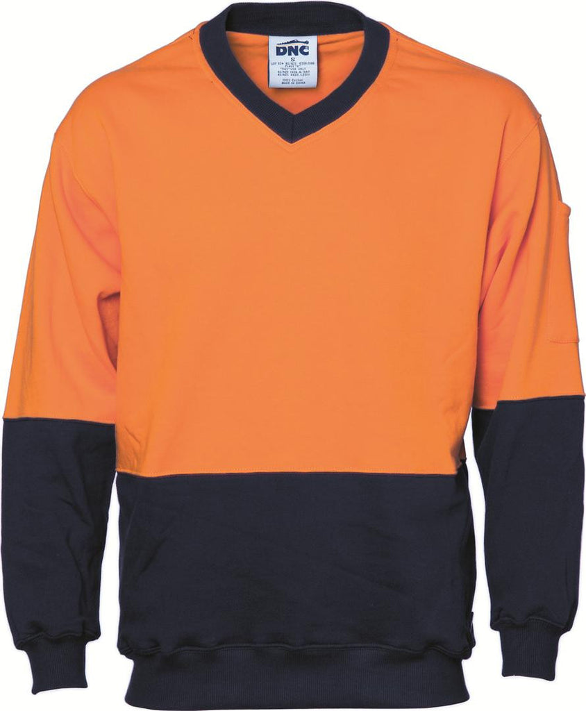 DNC HiVis Two Tone Cotton Fleecy Sweat Shirt, V-Neck (3922)
