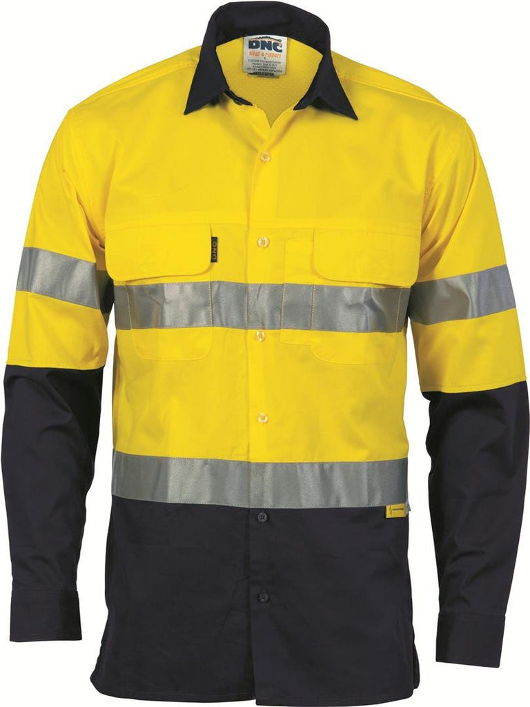 DNC HiVis 3 Way Cool-Breeze Cotton Shirt with CSR/Tape - Long sleeve (3948)