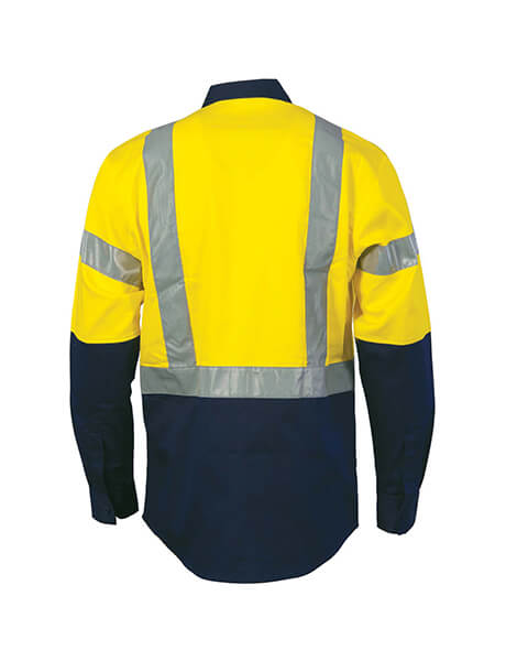 DNC HiVis D/N 2 Tone Drill Shirt with H Pattern Reflective Tape, Long Sleeve (3983)