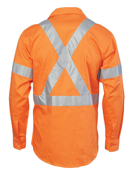 DNC HiVis D/N Cotton Shirt with Cross Back Generic R/Tape-long sleeve (3989)