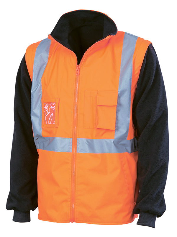 "DNC Hivis ""4 In 1"" Zip Off Sleeve Reversible Vest, 'X' Back With Additional Tape On Tail (3990)"