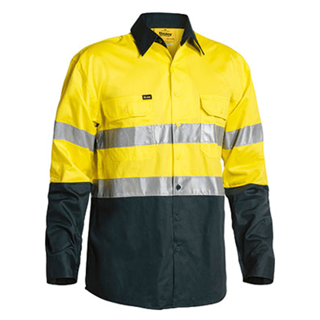 Bisley 2 Tone Hi Vis  Gusset Cuff Shirt 3M Reflective Tape-Long Sleeve-(BS6896)