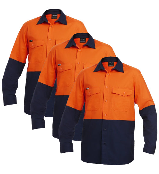 KingGee Workcool 2 Spliced Shirt L/s - Cotton Ripstop K54870-1 (Pack of 3)