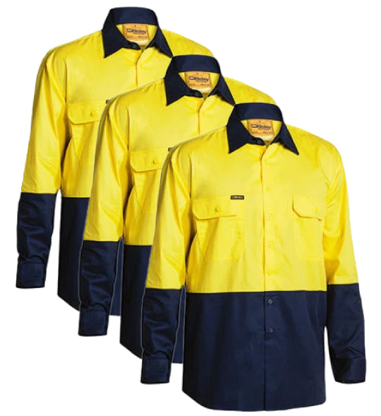 Bisley 2 Tone Hi Vis Cool Lightweight Mesh Ventilated Drill Shirt - Long Sleeve BS6895-1 (Pack of 3)