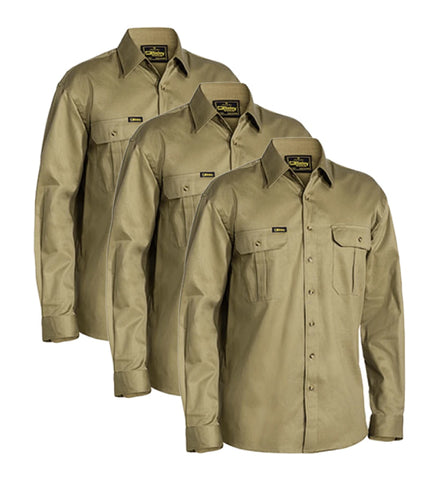 Bisley Original Cotton Drill Shirt - Long Sleeve BS6433-1 (Pack of 3)