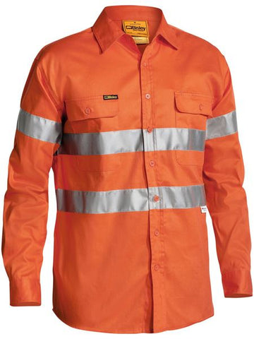 Bisley Hi Vis Drill L/S Shirt 3M Reflective Tape-(BT6482)
