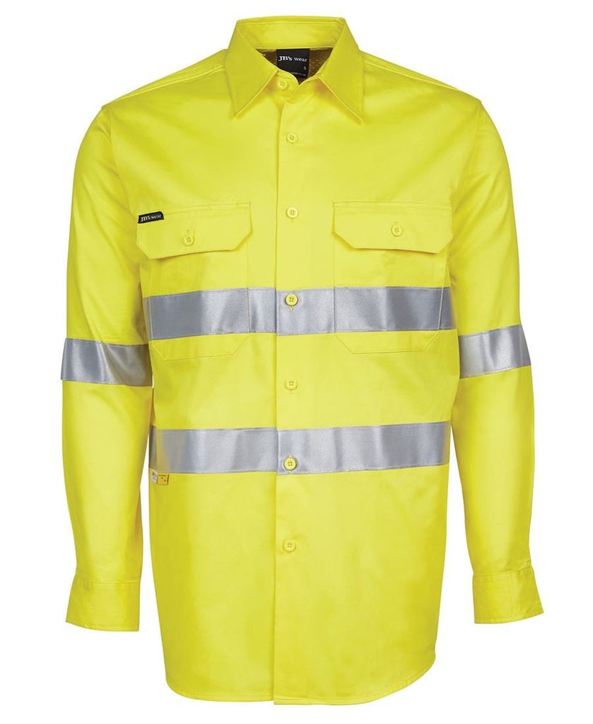 Jb's Hi Vis Long Sleeve (D+N) 150g Work Shirt - Adults (6DNWL)