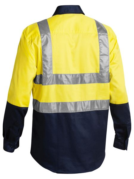 Bisley 2 Tone Hi Vis Drill Shirt 3M Reflective Tape - Long Sleeve-(BS6267T)