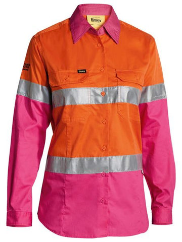 Bisley Women's Taped Hi Vis Cool Lightweight Drill Shirt -(BL6696T)