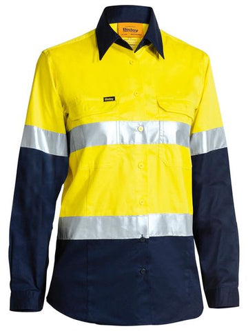 Bisley 2 Tone Hi Vis Cool Lightweight Gusset Cuff Shirt 3m Reflective Tape - Ladies Long Sleeve-(BL6896)