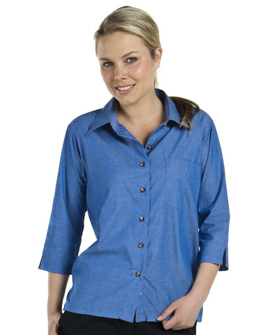 Jb's Ladies 3/4 Sleeve Indigo Shirt (4LICT)