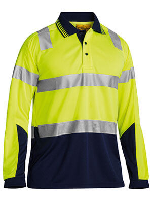 Bisley 3M Taped Hi Vis Two Tone Micromesh Polo Shirt - Long Sleeve-(BK6258T)