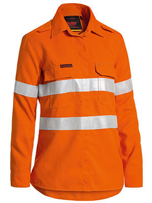 Bisley Tencate tecasafe® women's taped hi vis fr lightweight vented long sleeve shirt-(BL8097T)