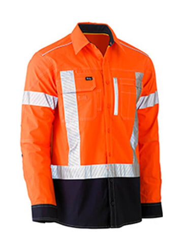 Bisley Flex & Move Tone HI Vis Stretch Utility Shirt-Long Sleeve (BS6177XT)