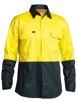 Bisley 2 Tone Hi Vis Cool Lightweight Mesh Ventilated Drill Shirt - Long Sleeve-(BS6895)