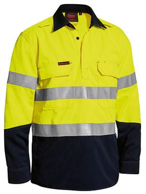 Bisley Tencate Tecasafe® Plus Taped Two Tone Hi Vis Closed Front Vented Shirt - Long Sleeve-(BSC8075T)
