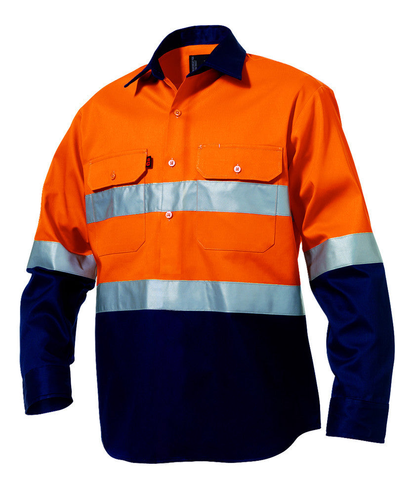 KingGee Reflective Closed Front Spliced Drill Shirt L/S (K54325)